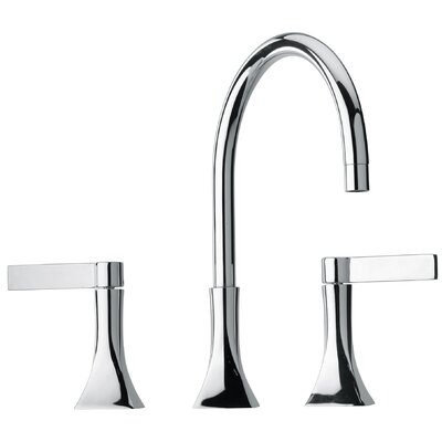 J17 Bath Series Two Blade Handle Widespread Bathroom Faucet with Goose Neck Spout Finish: Polished Chrome