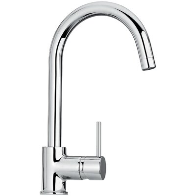 J25 Kitchen Series Single Hole Kitchen Faucet with Goose Neck Spout Finish: Polished Chrome