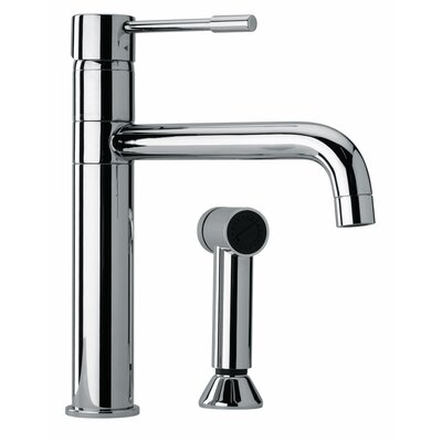 J25 Kitchen Series Modern Single Lever Handle Two Hole Kitchen Faucet with Side Sprayer Finish: Polished Chrome