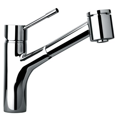 J25 Kitchen Series Single Hole Kitchen Faucet with Pull Out Spray Head Finish: Polished Chrome