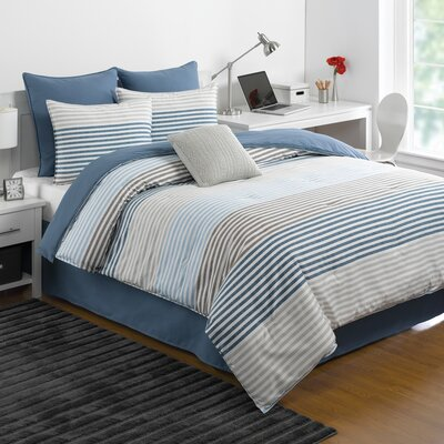 Chambray Stripe Comforter Set Size: Full