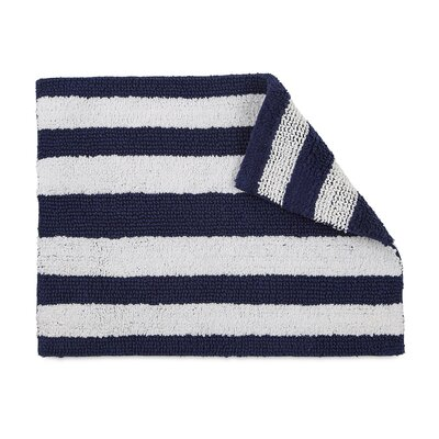 Florencia Reversible Stripe Bath Rug Color: Navy Blue
