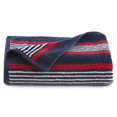 Racer Stripe Bath Towel Color: Navy Blue