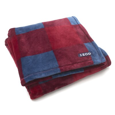 Brandon Plush Throw Color: Red/Navy