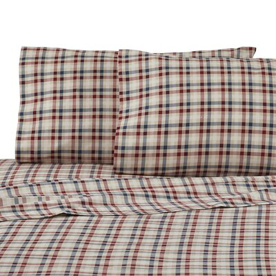 Sawyer Plaid 100% Cotton Sheet Set Size: Twin