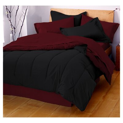 Gil Reversible Comforter Color: Ebony / Burgundy, Size: King