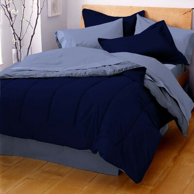 Gil Reversible Comforter Color: Navy / Ceil Blue, Size: King