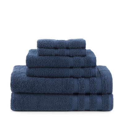 Egyptian 6 Piece Towel Set Color: Navy