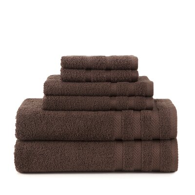 Egyptian 6 Piece Towel Set Color: Dark Brown