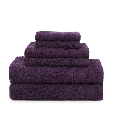 Egyptian 6 Piece Towel Set Color: Black Plum