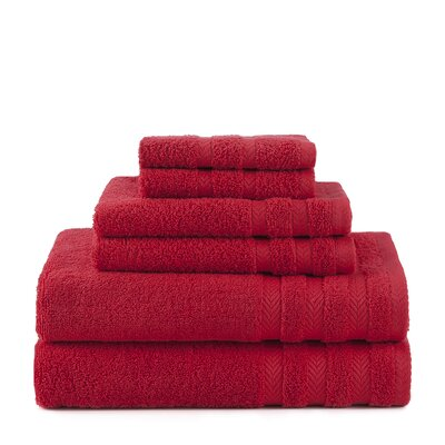 Egyptian 6 Piece Towel Set Color: Red