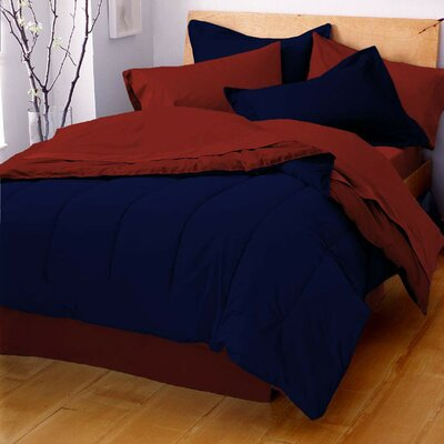 Gil Reversible Comforter Size: Full / Queen, Color: Navy / Paprika