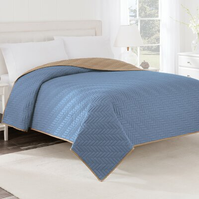 Reversible Coverlet Color: Ceil Blue / Khaki, Size: Twin