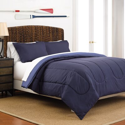 Reversible Comforter Set Color: Navy / Ceil Blue, Size: Twin