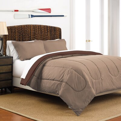 Reversible Comforter Set Color: Khaki / Chocolate, Size: Full / Queen