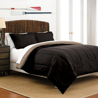 Reversible Comforter Set Color: Ebony / Khaki, Size: Full / Queen