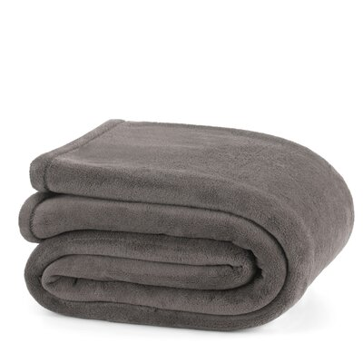 Plush Throw Blanket Size: Full / Queen, Color: Gray