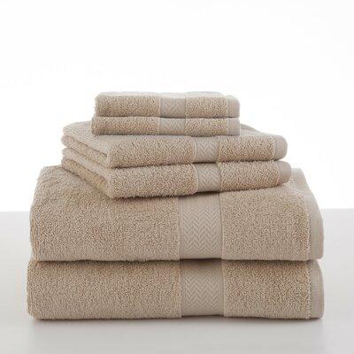 Roxann 6 Piece Towel Set Color: Sand