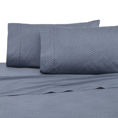 400 Thread Count 100% Cotton Sheet Set Color: Navy Diamond Lines, Size: Full