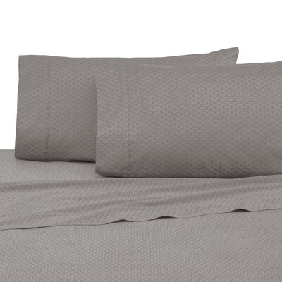 400 Thread Count 100% Cotton Sheet Set Color: Gray Diamond Lines, Size: Queen