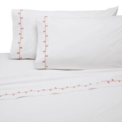 Selene Embroidered 200 Thread Count 100% Cotton Sheet Set Size: Full, Color: Coral