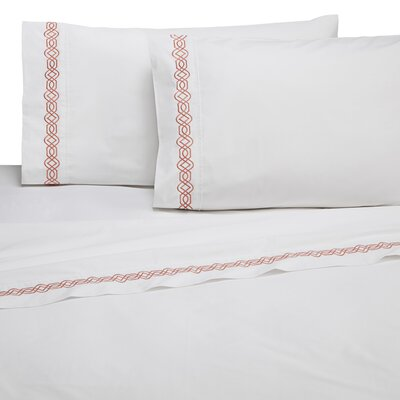 Selene Trellis Embroidered 200 Thread Count 100% Cotton Sheet Set Size: King, Color: Coral