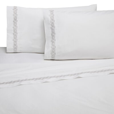 Selene Trellis Embroidered 200 Thread Count 100% Cotton Sheet Set Size: Full, Color: Gray
