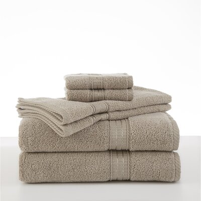Staybright Solid 6 Piece Towel Set Color: Latte