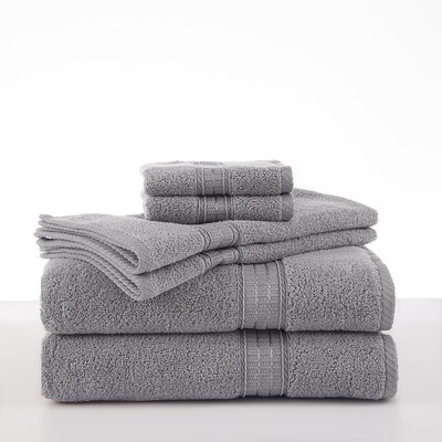 Staybright Solid 6 Piece Towel Set Color: Grey