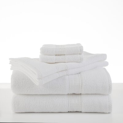 Staybright Solid 6 Piece Towel Set Color: White