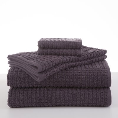 Staybright Texture 6 Piece Towel Set Color: Night Shade
