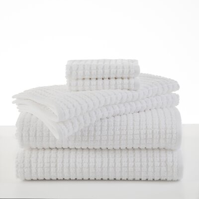 Staybright Texture 6 Piece Towel Set Color: White