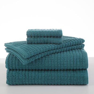 Staybright Texture 6 Piece Towel Set Color: Peacock