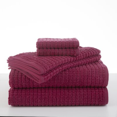 Staybright Texture 6 Piece Towel Set Color: Sangria