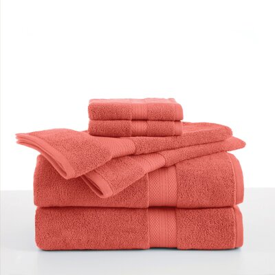 Abundance 6 Piece Towel Set Color: Peach Cream