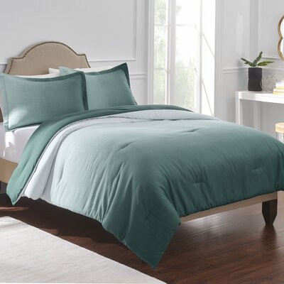 Reverie Comforter Set Color: Teal, Size: Full/Double/Queen