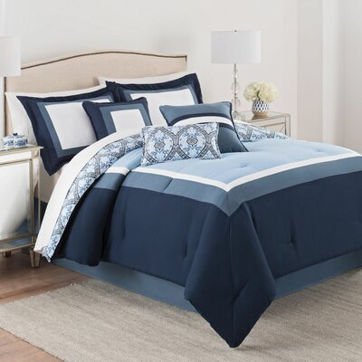 Luxury Carsten 7 Piece Reversible Comforter Set Size: Queen