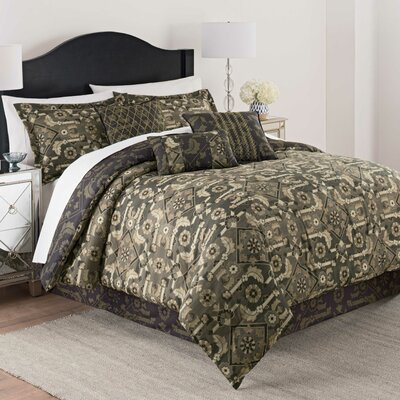 Luxury Shiraz 7 Piece Reversible Comforter Set Size: Queen