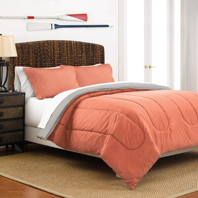 Reversible Comforter Set Size: King, Color: Coral / Light Gray