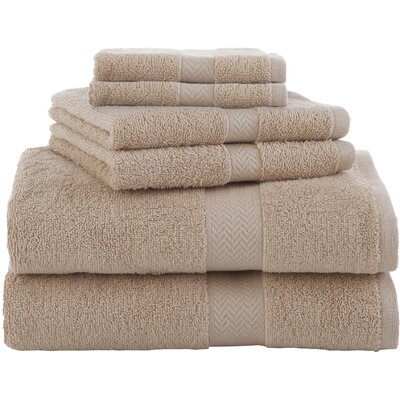 Ringspun 6 Piece Towel Set Color: Sand