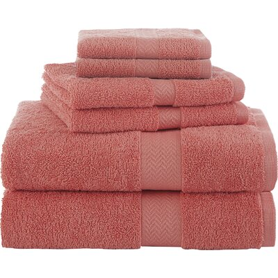 Ringspun 6 Piece Towel Set Color: Coral