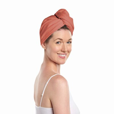 Easy Living Hair Towel Color: Light Gray & Coral