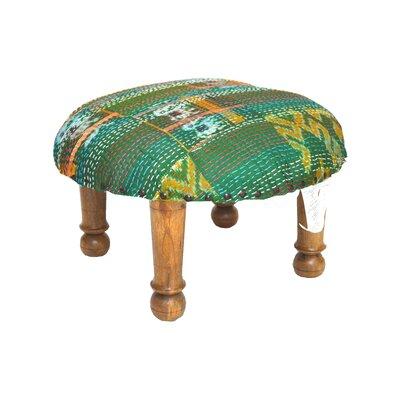 Kantha Stitched Ikat Ottoman