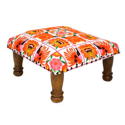 Embroidered Ottoman Upholstery: Orange