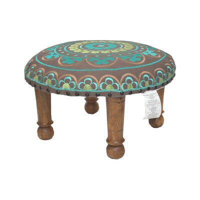 Embroidered Ottoman Upholstery: Teal
