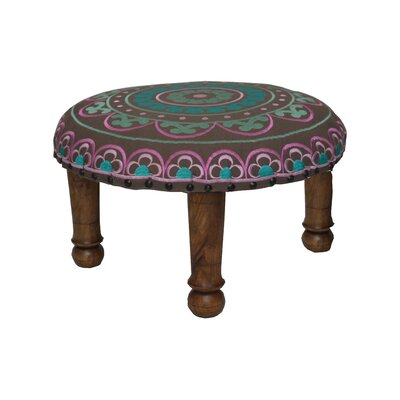 Embroidered Ottoman Upholstery: Pink and Teal