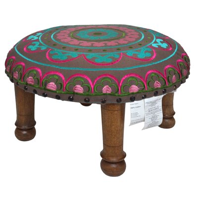 Embroidered Ottoman Upholstery: Fuchsia and Teal