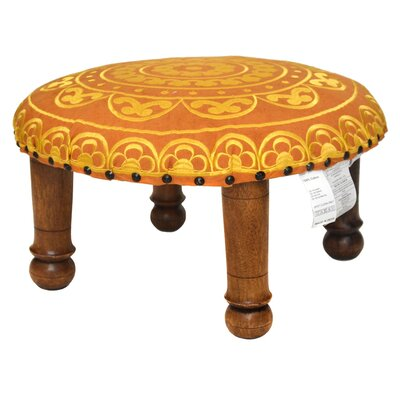 Embroidered Ottoman Upholstery: Yellow