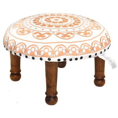 Embroidered Ottoman Upholstery: White and Gold