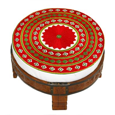 Embroidered Ottoman Upholstery: Red